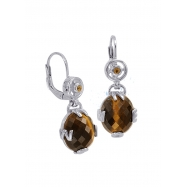 Alesandro Menegati 14K Accented Sterling Silver Earrings with Tiger Eye