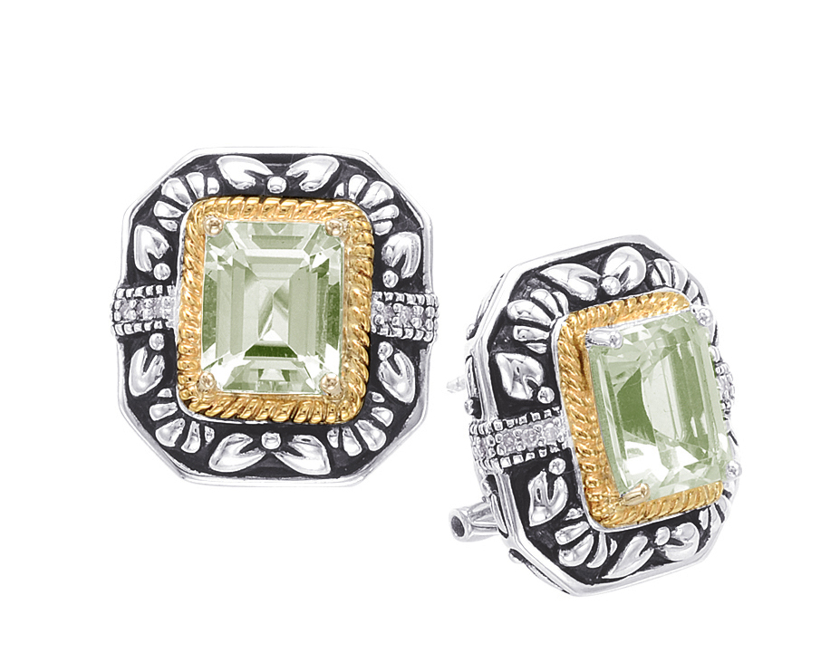 Alesandro Menegati 14K Accented Sterling Silver Green Amethyst and Diamonds Earrings. Price: $484.00