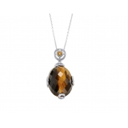 Alesandro Menegati 14K Accented Sterling Silver Necklace with Tiger Eye