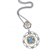Alesandro Menegati 14K Accented Sterling Silver Necklace with Blue Topaz and Diamonds
