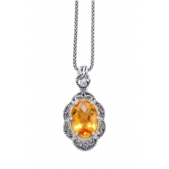 Alesandro Menegati 14K Accented Sterling Silver Necklace with Citrine and White Topaz