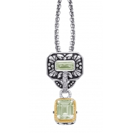 Alesandro Menegati 14K Accented Sterling Silver Green Amethyst and Diamonds Necklace