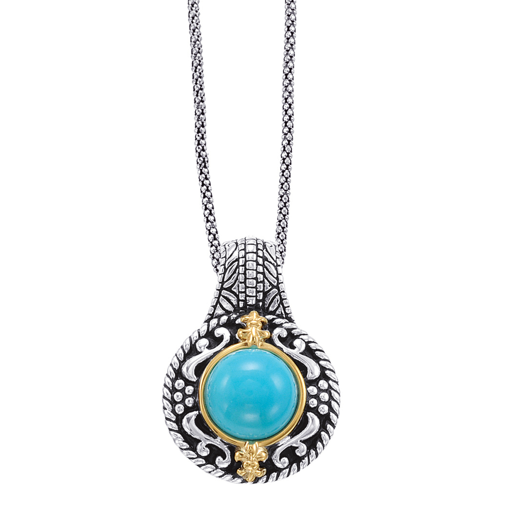 Alesandro Menegati 14K Accented Sterling Silver Necklace with Turquoise. Price: $264.00