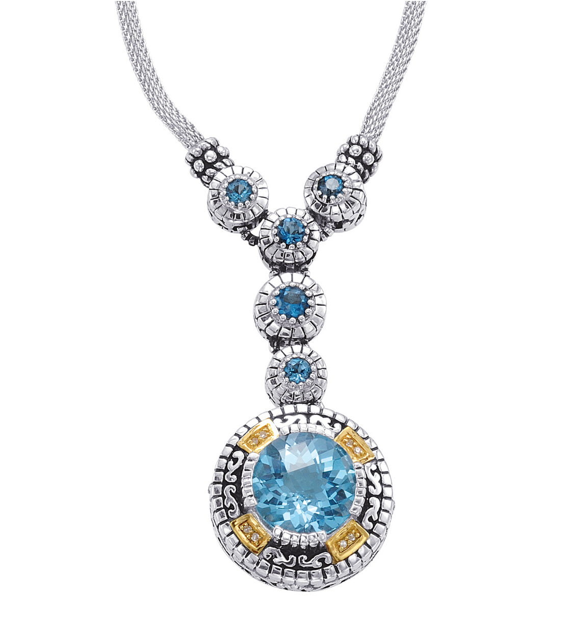 Alesandro Menegati 14K Accented Sterling Silver Necklace with Blue Topaz and Diamonds . Price: $629.20