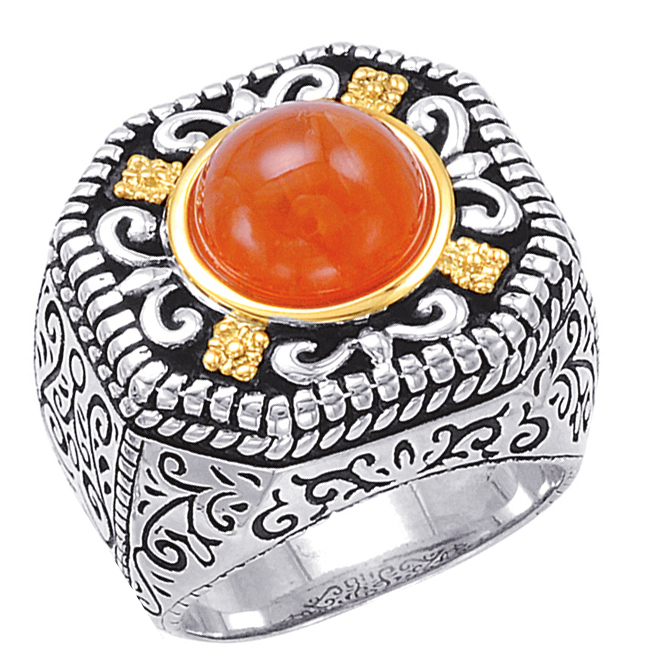 Alesandro Menegati 14K Accented Sterling Silver Ring with Carnelian. Price: $275.00