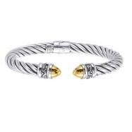 Alesandro Menegati 14K Gold & Sterling Silver Bangle