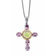 Alesandro Menegati 14K Accented Sterling Silver Cross Necklace with Amethysts