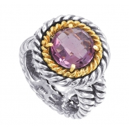 Alesandro Menegati 14K Accented Sterling Silver Ring with Amethyst
