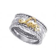 """Alesandro Menegati 14K Gold & Sterling Silver """"Love"""" Ring"""