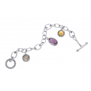 Alesandro Menegati 14K Accented Sterling Silver Link Bracelet with Amethyst, Smoky Quartz
