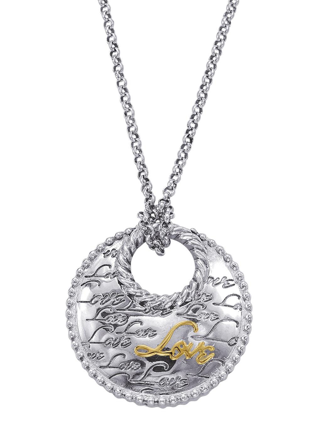 """Alesandro Menegati 14K Gold & Sterling Silver """"Love"""" Necklace. Price: $363.00"""