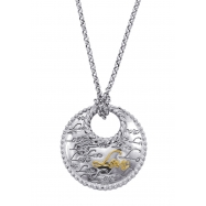 "Alesandro Menegati 14K Gold & Sterling Silver ""Love"" Necklace"