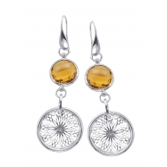 Alesandro Menegati 18K Accented Sterling Silver Honey Quartz Earrings