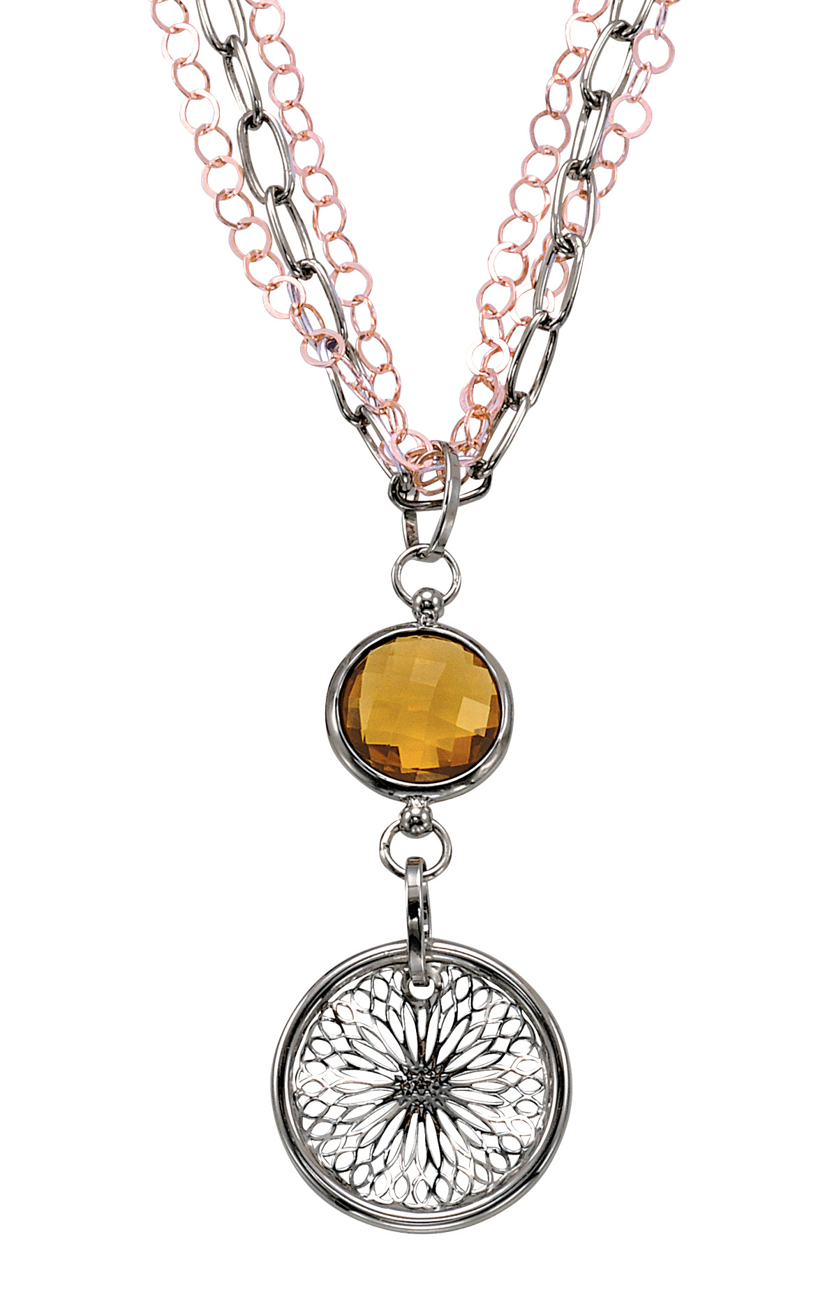 Alesandro Menegati 18K Accented Sterling Silver Honey Quartz Necklace. Price: $286.00