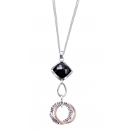 Alesandro Menegati Rose Gold Accented Sterling Silver Fashion Necklace with Black Onyx