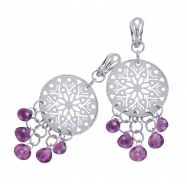 Alesandro Menegati Sterling Silver Fashion Earrings with Amethysts