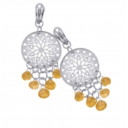 Alesandro Menegati Sterling Silver Fashion Earrings with Citrines