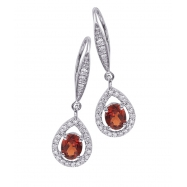 Alesandro Menegati Sterling Silver Earrings with Diamonds and Garnet