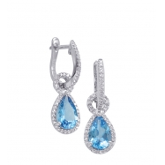 Alesandro Menegati Sterling Silver Earrings with Diamonds and Blue Topaz