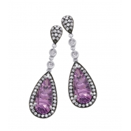 Alesandro Menegati Sterling Silver Pendant Earrings with Black and White Diamonds and Amethyst