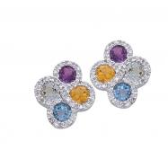 Alesandro Menegati Sterling Silver Earrings with Gemstones