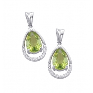 Alesandro Menegati Sterling Silver Earrings with Diamonds and Peridots
