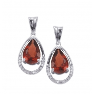 Alesandro Menegati Sterling Silver Earrings with Diamonds and Large Garnet