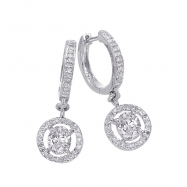 Alesandro Menegati Sterling Silver Dangle Earrings with Diamonds and White Topaz