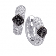 Alesandro Menegati Sterling Silver Black Diamonds and White Topaz Fashion Fancy Hoop Earrings