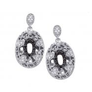 Alesandro Menegati Sterling Silver Black Diamonds and White Topaz Fashion Oval Pendant Earrings