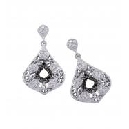 Alesandro Menegati Sterling Silver Black Diamonds and White Topaz Fashion Fancy Pendant Earrings