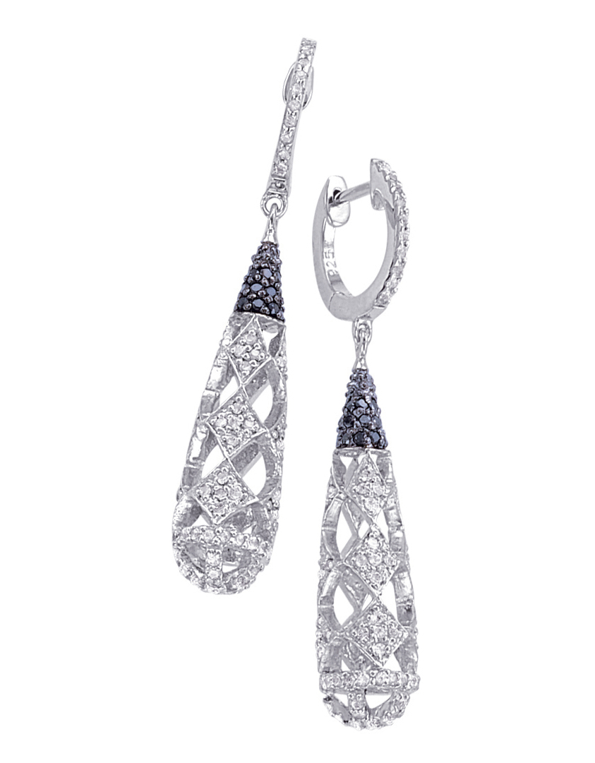 Alesandro Menegati Sterling Silver Black Diamonds and White Topaz Fancy Fashion Earrings. Price: $587.40
