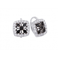 Alesandro Menegati Sterling Silver Black Diamonds and White Topaz Fashion Fancy Square Earrings