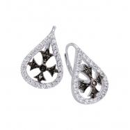 Alesandro Menegati Sterling Silver Black Diamonds and White Topaz Fashion Fancy Fashion Earrings