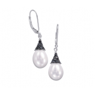Alesandro Menegati Sterling Silver Black Diamonds and Pearl Earrings