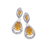 Alesandro Menegati Sterling Silver Earrings with Diamonds and Citrines