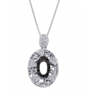 Alesandro Menegati Sterling Silver Black Diamonds and White Topaz Fashion Oval Pendant Necklace