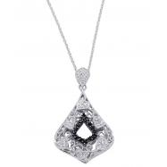 Alesandro Menegati Sterling Silver Black Diamonds and White Topaz Fashion Fancy Pendant Necklace
