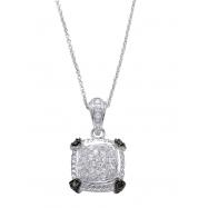 Alesandro Menegati Sterling Silver Black Diamonds and White Topaz Square Necklace