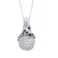 Alesandro Menegati Sterling Silver Black Diamonds and White Topaz Swarowski Style Necklace