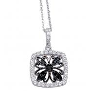 Alesandro Menegati Sterling Silver Black Diamonds and White Topaz Fashion Fancy Square Necklace
