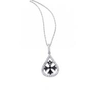 Alesandro Menegati Sterling Silver Black Diamonds and White Topaz Fashion Fancy Fashion Necklace