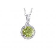 Alesandro Menegati Sterling Silver Circle Necklace with Diamonds and Peridot
