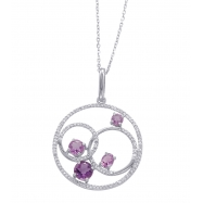 Alesandro Menegati Sterling Silver Circle Pendant Necklace with Diamonds and Amethysts