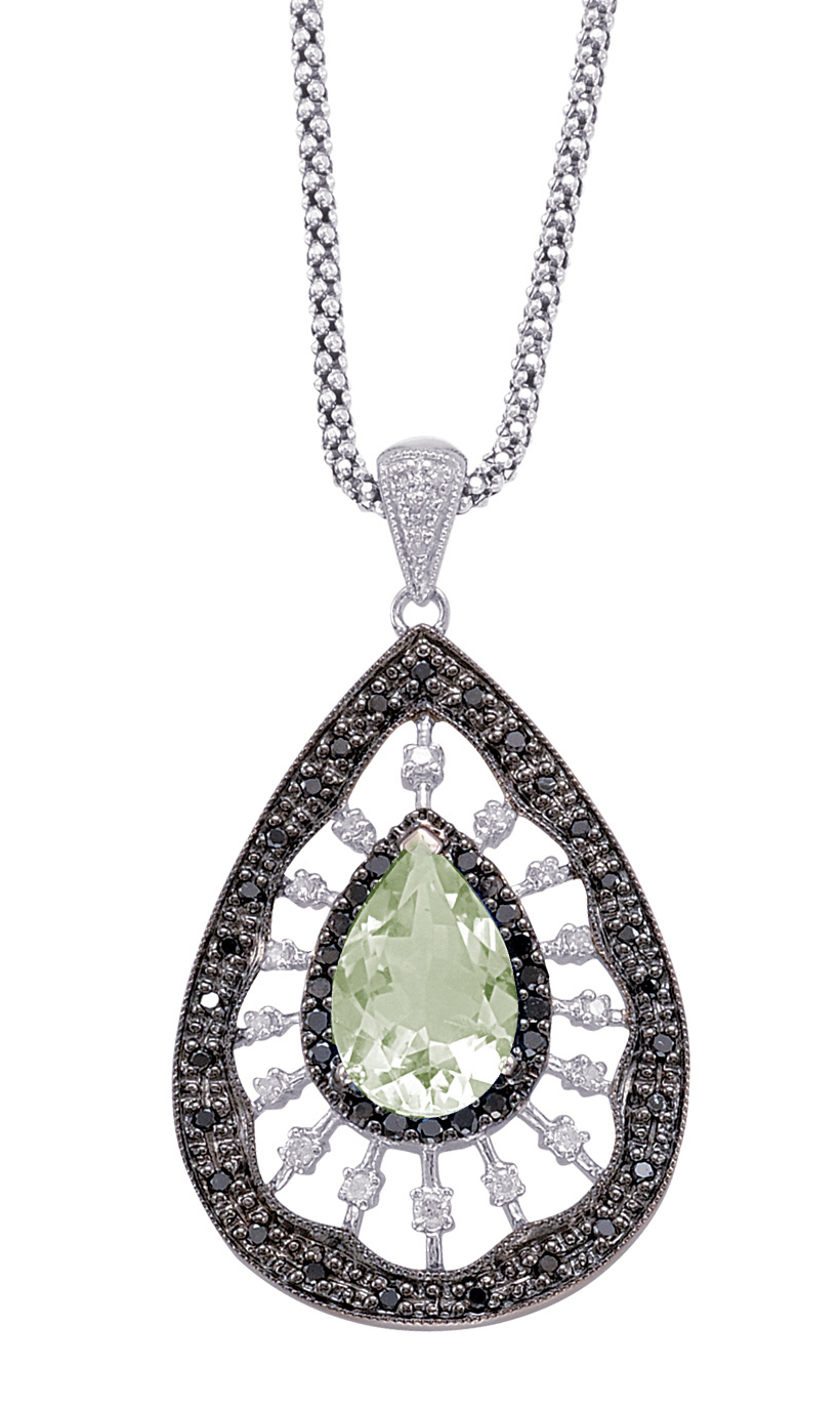 Alesandro Menegati Sterling Silver Necklace with White and Black Diamonds and Green Amethyst. Price: $627.00