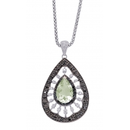 Alesandro Menegati Sterling Silver Necklace with White and Black Diamonds and Green Amethyst