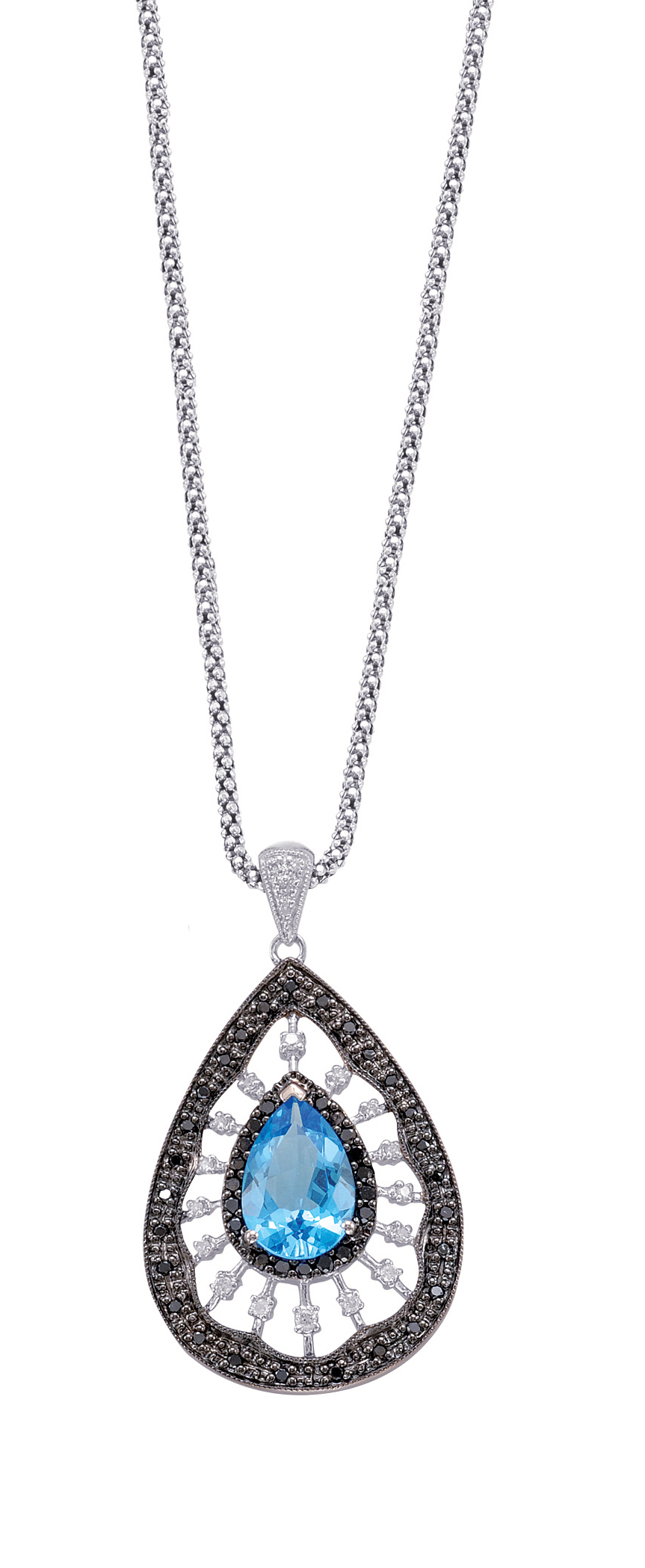 Alesandro Menegati Sterling Silver Necklace with Black and White Diamonds and Blue Topaz. Price: $649.00