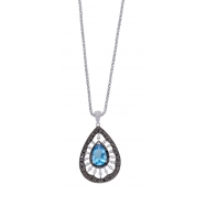 Alesandro Menegati Sterling Silver Necklace with Black and White Diamonds and Blue Topaz