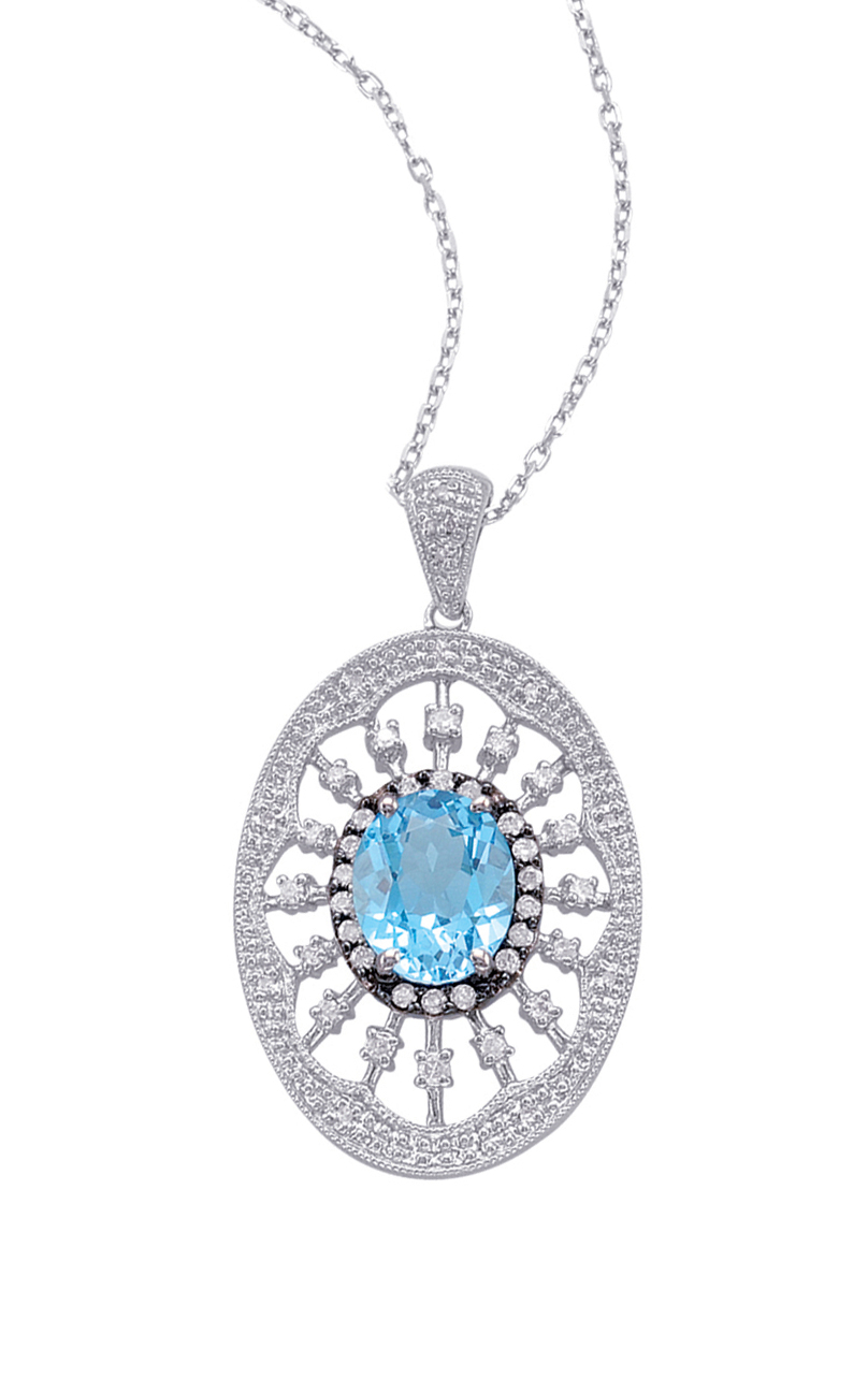 Alesandro Menegati Sterling Silver Oval Pendant Necklace with Diamonds and Blue Topaz. Price: $587.40