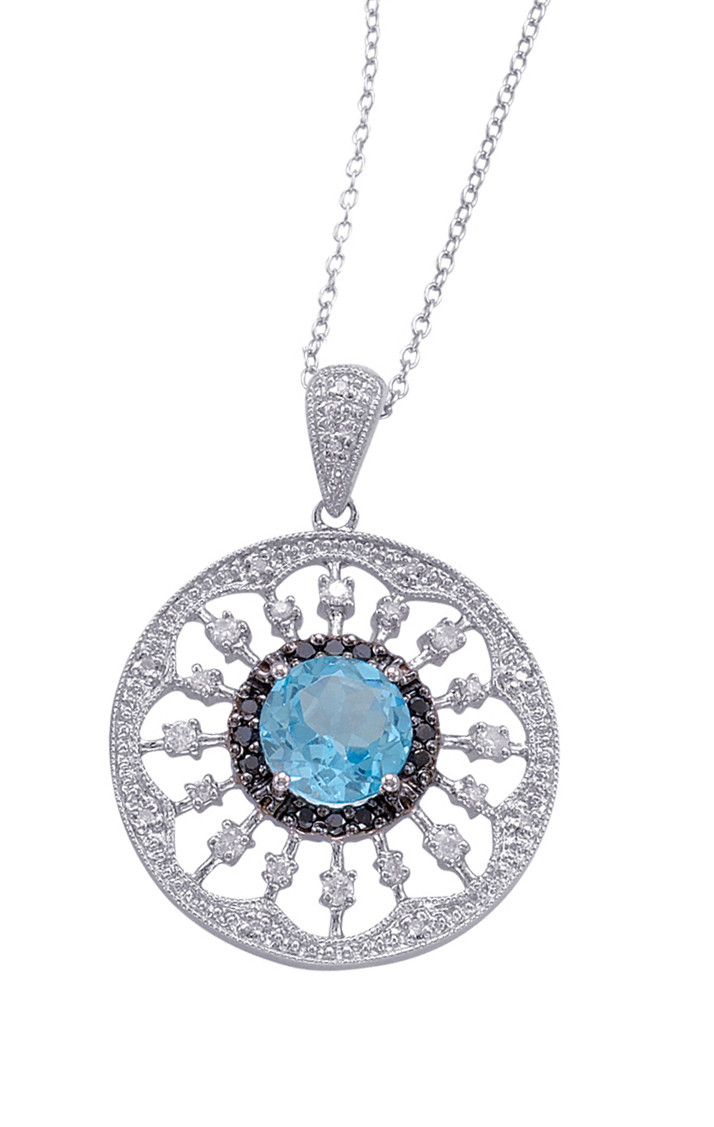 Alesandro Menegati Sterling Silver Necklace with White and Black Diamonds and Blue Topaz. Price: $495.00